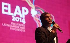 El presidente Correa durante su intervención en el ELAP 2014.