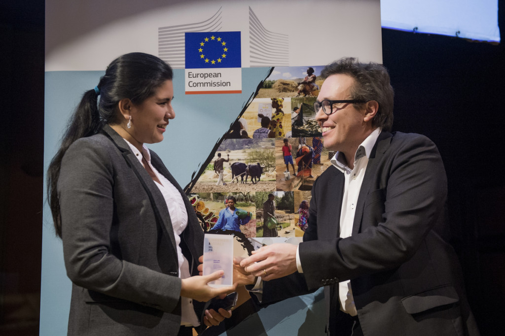 Brussels, Belgium 14 January 2016 Lorenzo Natali Media Prize 2015. On this picture: Daniela Aguilar de la Torre and Olivier Basille, Reporters Without Borders. Photo © European Commission